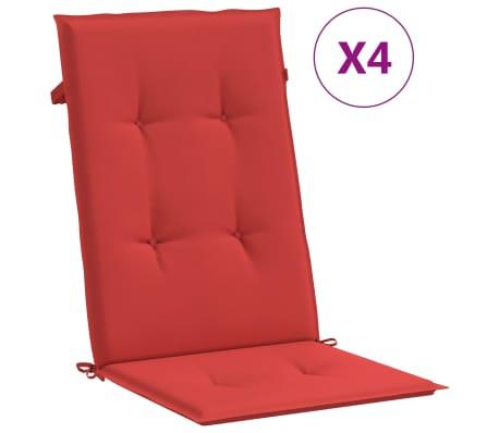 vidaXL Poduszki na krzesła ogrodowe, 4 szt., czerwone, 120x50x3 cm