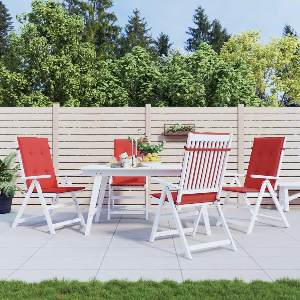 vidaXL Coussin de chaise de jardin 4 pcs Rouge 120 x 50 x 3 cm