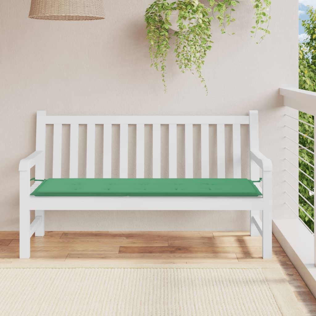 vidaXL Polstr na zahradní lavici, zelený, 150x50x3 cm