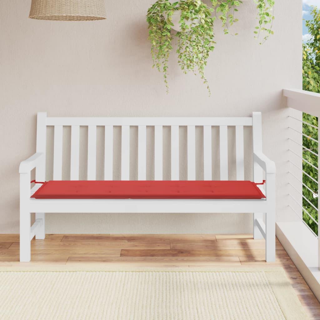 vidaXL Polstr na zahradní lavici, červený, 150x50x3 cm