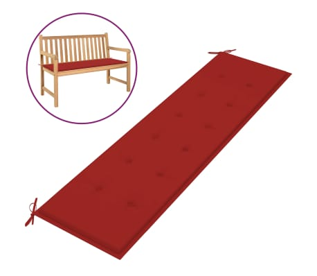 vidaXL Almofadão para banco de jardim 180x50x3 cm vermelho