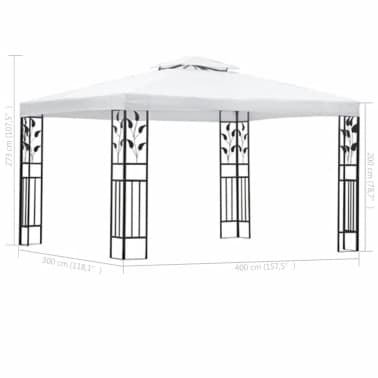 vidaXL Chapiteau de jardin Blanc 3 x 4 m[4/5]