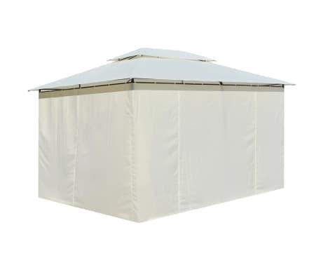 vidaXL Hagetelt med gardiner 4x3 m hvit[3/8]
