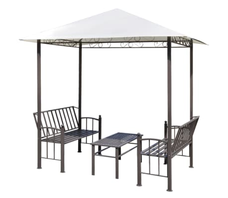 acheter vidaxl pavillon de jardin avec table et bancs 2 5 x 1 5 x 2 4 m pas cher. Black Bedroom Furniture Sets. Home Design Ideas