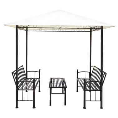 vidaXL Vrtni paviljon z mizo in klopema 2,5x1,5x2,4 m[3/6]