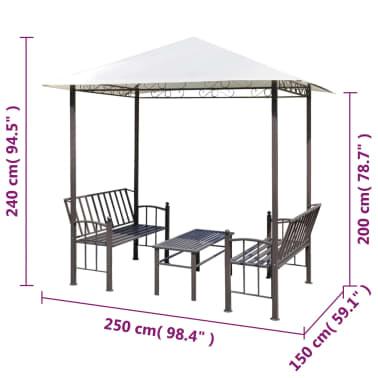 vidaXL Vrtni paviljon z mizo in klopema 2,5x1,5x2,4 m[6/6]