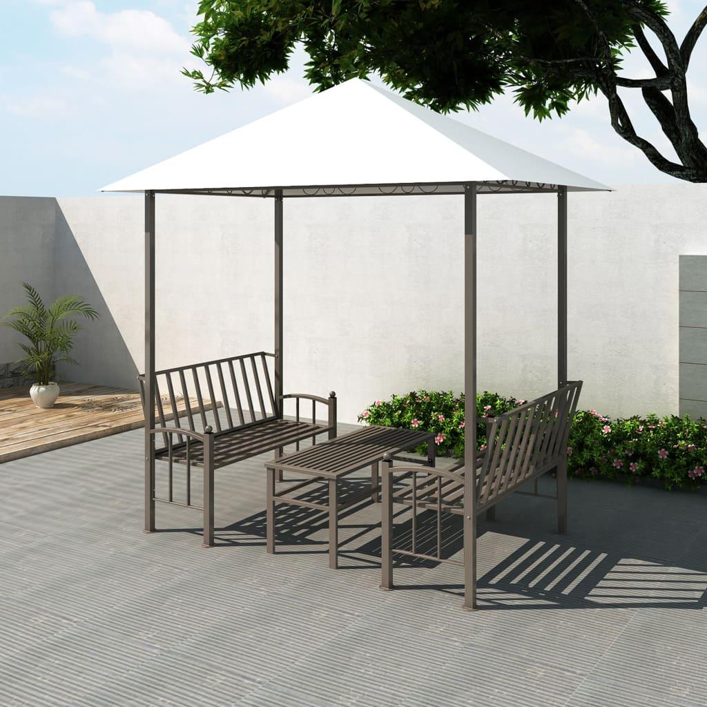 vidaXL Hagepaviljong med bord og benker 2,5x1,5x2,4 m