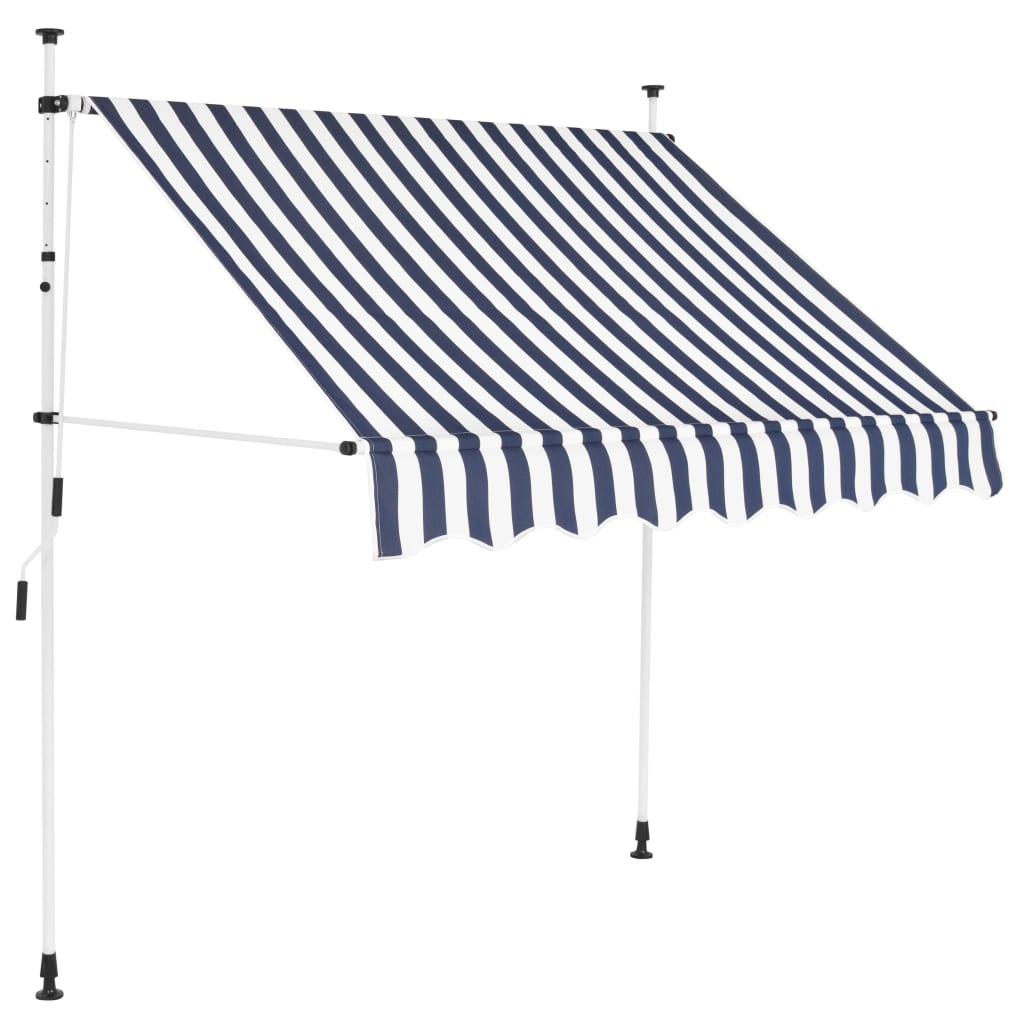Ručně zatahovací markýza 150 cm modro-bílé pruhy