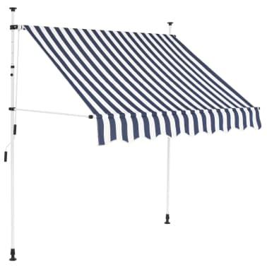 vidaXL Auvent rétractable manuel 150 cm Rayures bleues et blanches[1/6]