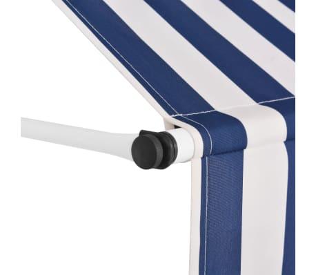 vidaXL Auvent rétractable manuel 150 cm Rayures bleues et blanches[3/6]