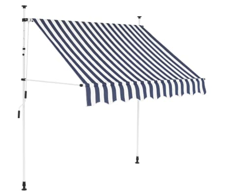 "vidaXL Manual Retractable Awning 78.7"" Blue and White Stripes"