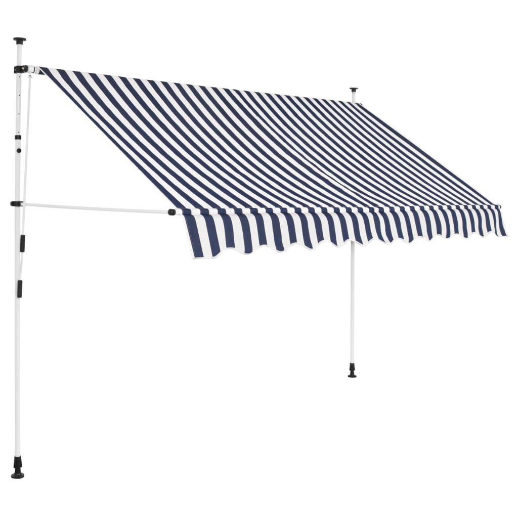 vidaXL Ručně zatahovací markýza 250 cm modro-bílé pruhy