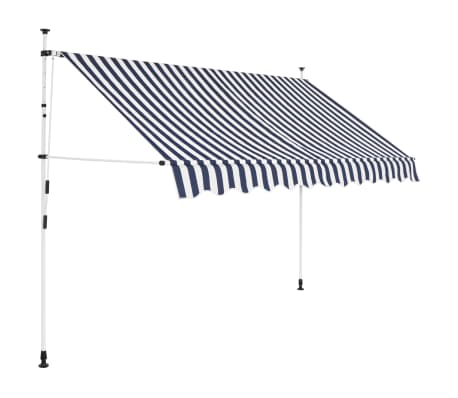 """vidaXL Manual Retractable Awning 98.4"""" Blue and White Stripes"""