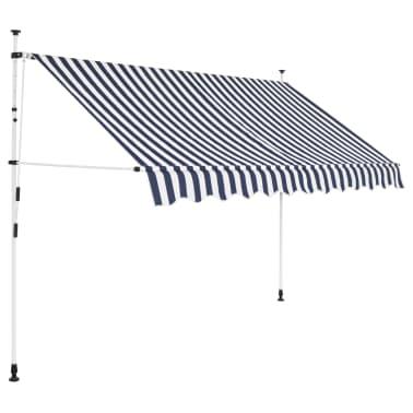 vidaXL Einziehbare Markise Handbetrieben 250 cm Blau/Weiß Gestreift[1/6]
