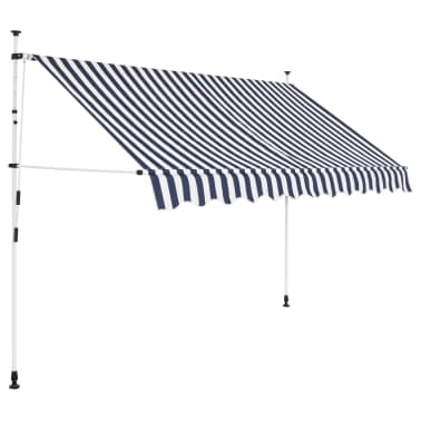 vidaXL Auvent rétractable manuel 300 cm Rayures bleues et blanches[1/5]