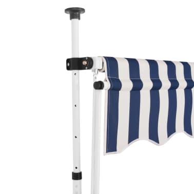 vidaXL Auvent rétractable manuel 300 cm Rayures bleues et blanches[2/5]