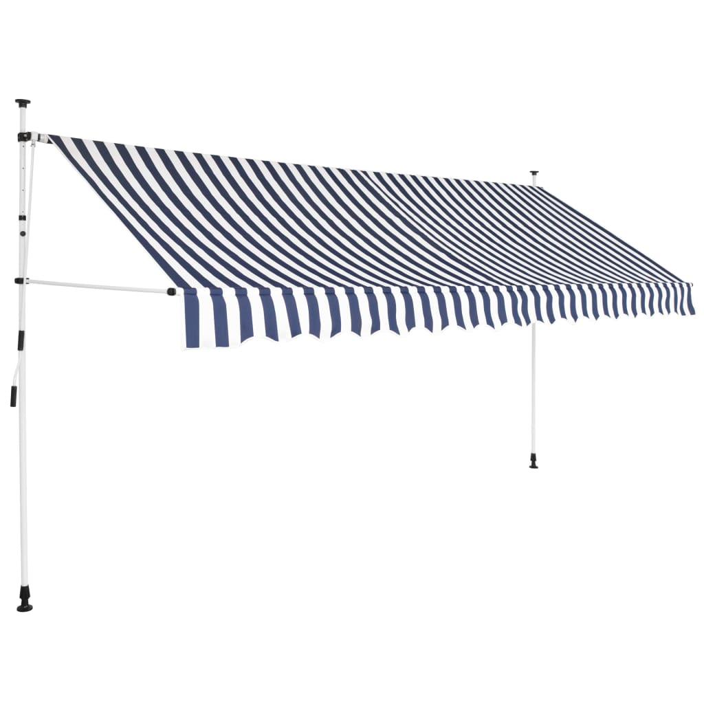 vidaXL Ručně zatahovací markýza 350 cm modro-bílé pruhy