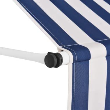 vidaXL Auvent rétractable manuel 400 cm Rayures bleues et blanches[3/6]