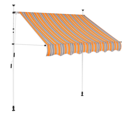 "vidaXL Manual Retractable Awning 78.7"" Yellow and Blue Stripes"