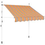 vidaXL Auvent rétractable manuel 200 cm Rayures jaunes et bleues