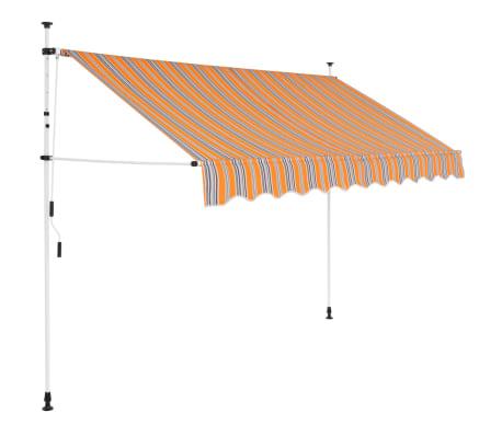 vidaXL kézzel feltekerhető napellenző kék-sárga csíkokkal 250 cm