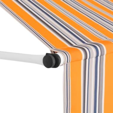 vidaXL Auvent rétractable manuel 300 cm Rayures jaunes et bleues[3/6]