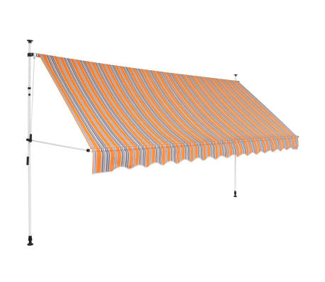 vidaXL Toldo manual retráctil 350 cm amarillo y azul a rayas
