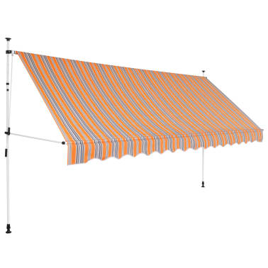 """vidaXL Manual Retractable Awning 157.5"""" Yellow and Blue Stripes[1/6]"""