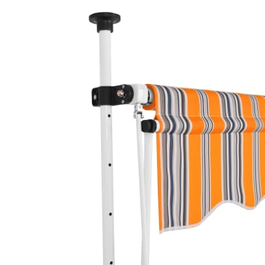 """vidaXL Manual Retractable Awning 157.5"""" Yellow and Blue Stripes[2/6]"""