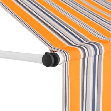 """vidaXL Manual Retractable Awning 157.5"""" Yellow and Blue Stripes[3/6]"""
