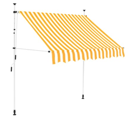 """vidaXL Manual Retractable Awning 78.7"""" Yellow and White Stripes"""