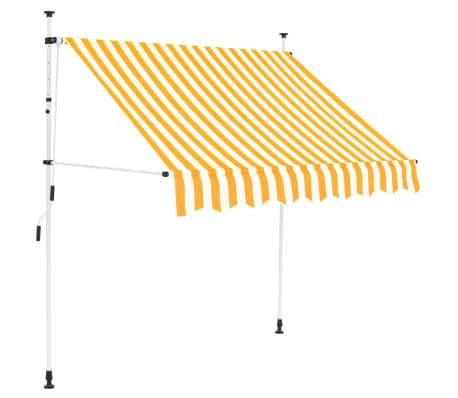 vidaXL kézzel feltekerhető napellenző sárga-fehér csíkokkal 200 cm