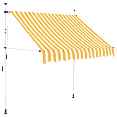 vidaXL Auvent rétractable manuel 200 cm Rayures jaunes et blanches[1/6]