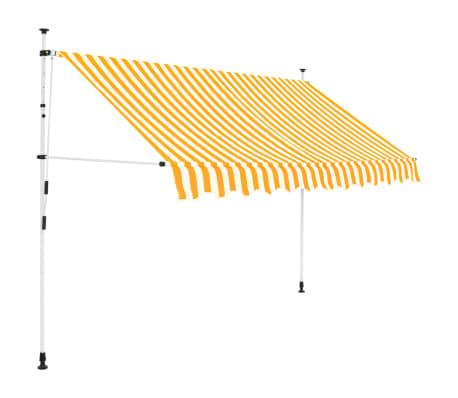 vidaXL Ručně zatahovací markýza 250 cm žluto-bílé pruhy