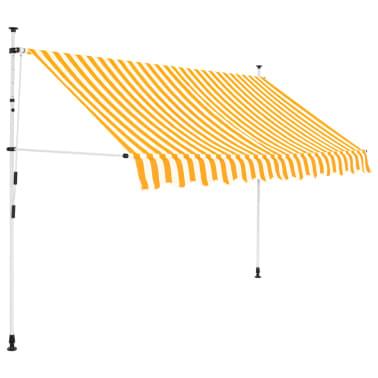 vidaXL Markiza zwijana ręcznie, 250 cm, żółto-białe pasy[1/6]