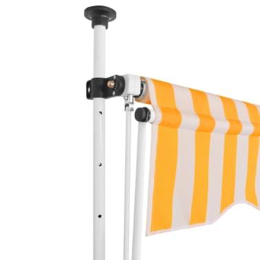 vidaXL Markiza zwijana ręcznie, 250 cm, żółto-białe pasy[2/6]