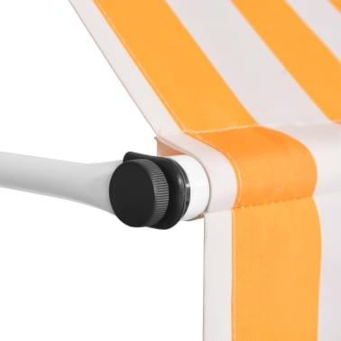 vidaXL Auvent rétractable manuel 300 cm Rayures jaunes et blanches[3/6]