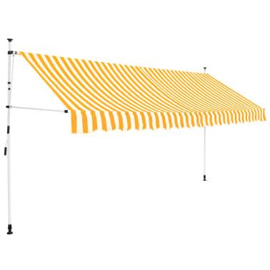 vidaXL Ръчно прибиращ се сенник, 350 см, жълти и бели ивици[1/6]