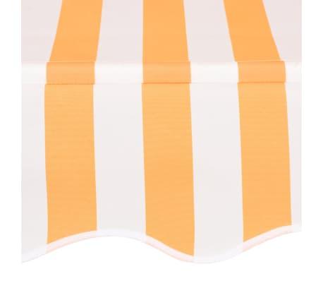 vidaXL Ръчно прибиращ се сенник, 350 см, жълти и бели ивици[4/6]