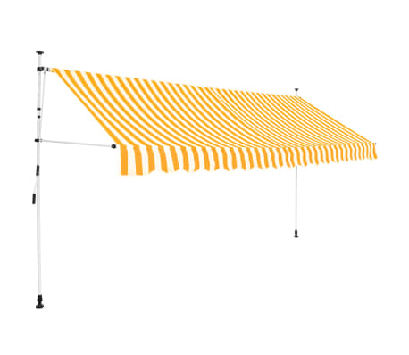 vidaXL Toldo manual retráctil 400 cm amarillo y blanco a rayas