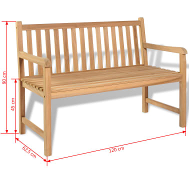 "vidaXL Outdoor Bench Teak 47.2""x24.6""x35.4""[6/6]"