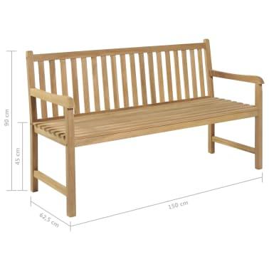 vidaXL Gartenbank Teak 150×62,5×90 cm[6/6]