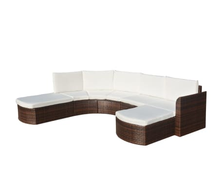 VidaXL Patio Wicker Rattan Garden Set Outdoor Sofa Lounge Couch Brown/Black