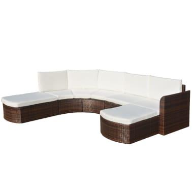vidaXL Set mobilier de grădină cu perne, 4 piese, maro, poliratan[1/6]