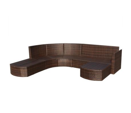 vidaXL Set mobilier de grădină cu perne, 4 piese, maro, poliratan[4/6]