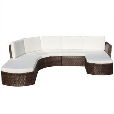vidaXL Set mobilier de grădină cu perne, 4 piese, maro, poliratan[2/6]