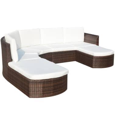 vidaXL Set mobilier de grădină cu perne, 4 piese, maro, poliratan[3/6]