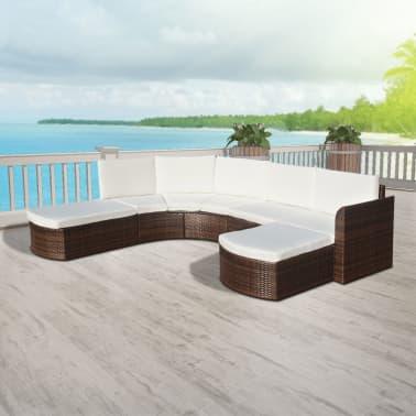 vidaXL Set mobilier de grădină cu perne, 4 piese, maro, poliratan[5/6]