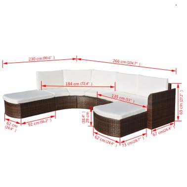 vidaXL Set mobilier de grădină cu perne, 4 piese, maro, poliratan[6/6]
