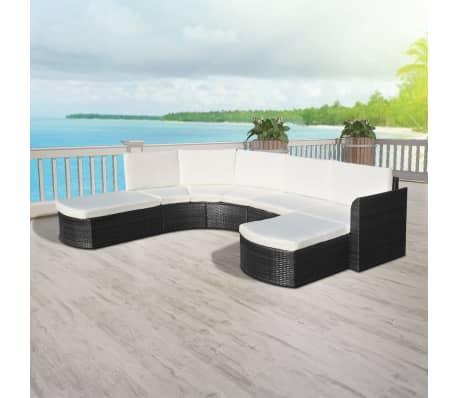 vidaXL 4-delige Loungeset met kussens poly rattan zwart[5/6]